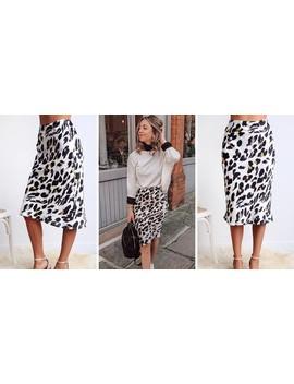 Annie Leopard Print Satin Skirt by Crave Closet