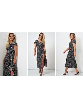 Kelly Midi Leopard Wrap Dress by Love Frontrow