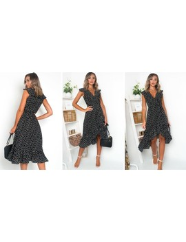 Rhona Polka Dot Wrap Midi Dress Black by Ikrush