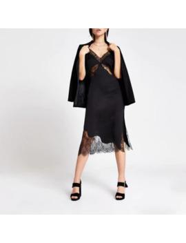 Black Lace Satin Midi Slip Dress by River Island