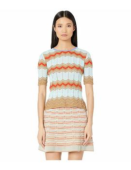 Short Sleeve Crew Neck Top In Zigzag Stitch by M Missoni