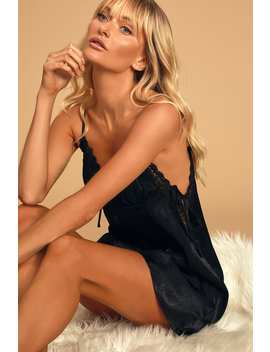 Say My Name Black Satin Mini Slip Dress by Lulus