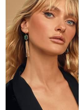 Goddess Gold Fringe Earrings by Lulus