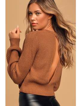 Ride On By Rust Orange Knit Backless Cropped Sweater by Lulus