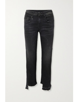 Boy Straight Frayed Mid Rise Jeans by R13