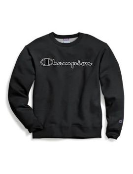 Champion Men's Powerblend® Fleece Crew, Logo With White Chainstitch by Champion