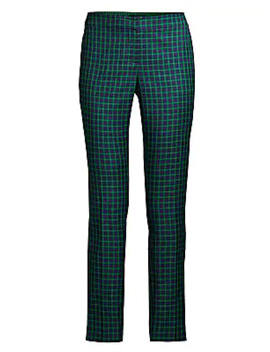 Manhattan Gingham Step Hem Slim Pants by Lafayette 148 New York