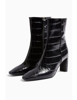 Melody Black Leather Crocodile Boots by Topshop