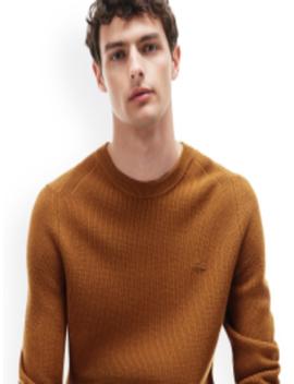 Men Brown Self Design Woolen Pullover by Lacoste