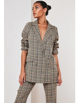 Brown Co Ord Plaid Oversized Grandad Blazer by Missguided