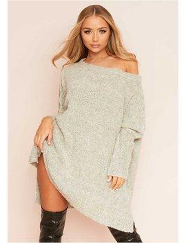 Tia Beige Soft Knit Jumper Dress by Missy Empire