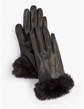 Faux Fur Trim Leather Touch Gloves Faux Fur Trim Leather Touch Gloves by Talbots