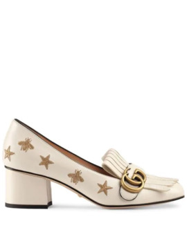 Embroidered Leather Mid Heel Pump by Gucci
