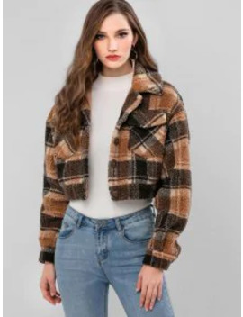 Popular Salezaful Plaid Faux Shearling Pocket Fluffy Teddy Coat   Caramel M by Zaful