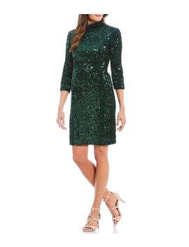 Stretch Allover Sequin Velvet Open Back Mini Dress by Donna Morgan