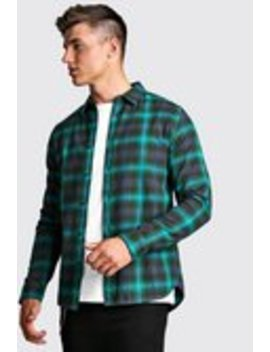 Long Sleeve Brushed Check Flannel Shirt by Boohoo Man