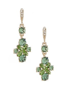 Gold Emerald Medium Drop Earrings by Givenchy