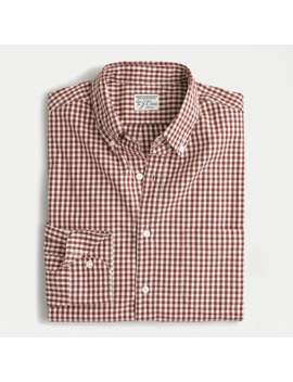 Untucked Stretch Secret Wash Shirt In Organic Cotton Gingham by J.Crew