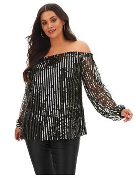 Black/Gold Long Sleeve Sequin Bardot by Simply Be