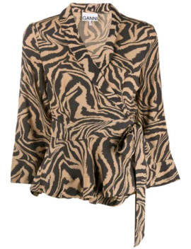 Tiger Print Wrap Blouse by Ganni