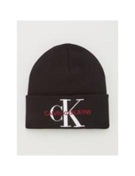 Jeans Knitted Logo Beanie Hat   Black Beauty by Calvin Klein