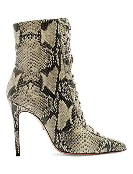 Anaiya Snake Embossed Leather Lace Up Point Toe Mid Calf Boots by Schutz