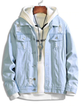 Solid Color Ripped Decorated Denim Jacket   Light Blue L by Zaful