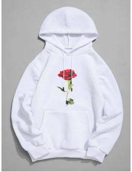 Rose Print Kangaroo Pocket Casual Hoodie   White S by Zaful