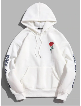 Rose Letter Fleece Kangaroo Pocket Pullover Hoodie   White M by Zaful