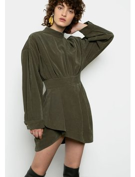 Corduroy Pleated Mini Dress In Green by The Frankie Shop
