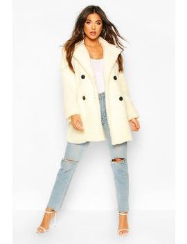 Faux Fur Double Breasted Coat by Boohoo