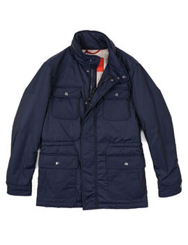 Nwt $2195 Isaia Navy Blue 'extralight Aqua' Insulated Field Jacket Xxl (Eu 56) by Isaia