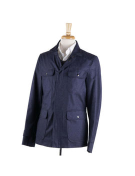 Nwt $2395 Isaia Indigo Blue Water Repellent Cotton Field Jacket Xxl (Eu 58) by Isaia