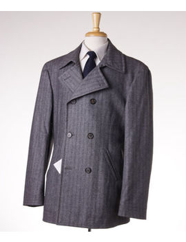 Nwt $4295 Brunello Cucinelli Gray Wool Cashmere Peacoat Eu 58 (Xxl) Outer Coat by Brunello Cucinelli
