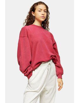 Petite Pink Stone Wash Sweatshirt by Topshop