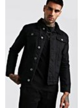 Denim Jacket Borg Collar by Boohoo Man