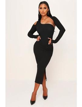 Black Cut Out Ribbed Bodycon Midi Dress by I Saw It First
