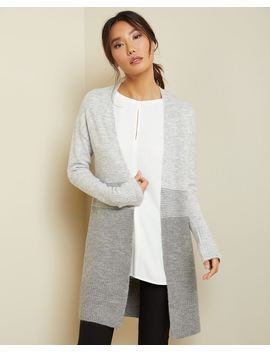 C&G Grey Tone Spongy Open Front Cardigan by Rw & Co