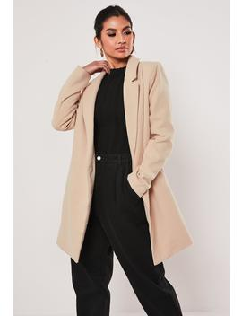 Nude Extreme Wrap Single Breasted Coat by Missguided