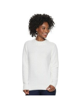 Women's Elle™ Simulated Pearl Neck Sweater by Elle