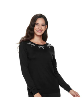 Women's Elle™ Long Sleeve Embellished Sweater by Elle