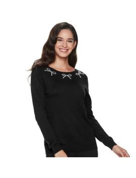 Women's Elle™ Long Sleeve Embellished Sweater by Elle