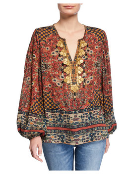 Leah Embellished V Neck Blouson Sleeve Silk Blouse by Kobi Halperin