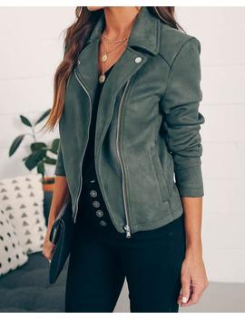 Tree Lighting Pocketed Faux Suede Jacket by Vici