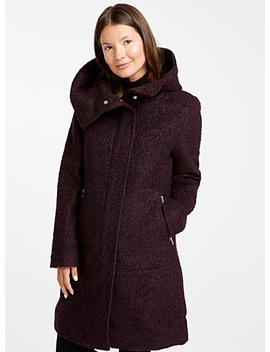 Accent Zip Bouclé Tweed Coat by Contemporaine