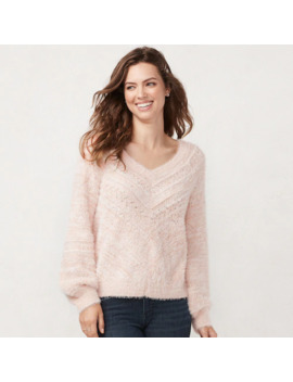 Women's Lc Lauren Conrad Chevron Pointelle V Neck Sweater by Lc Lauren Conrad