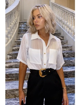 Laura Jade White 'haylee' Stripe Shirt by In The Style
