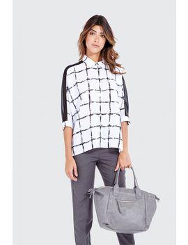 Mono Grid Check Panel Batwing Shirt by Select