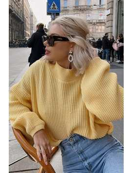 Laura Jade Yellow 'the Balloon Sleeve' Jumper by In The Style