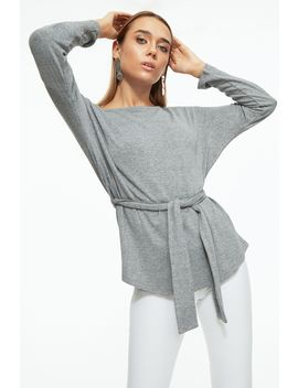 Grey Marl Belted Cut And Sew Long Sleeve Top by Select